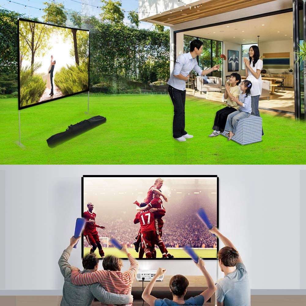 Abdtech 100 inch Projector Screen with Stand,Portable Wrinkle Free Outdoor Movie Screens 4K HD Rear Front Projections Movies Screen with Carry Bag for Indoor Home Theater Backyard Cinema Travel