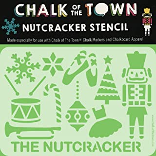 product image for Chalk of the Town Nutcracker and Winter Holiday Themed Plastic Stencil for Kids