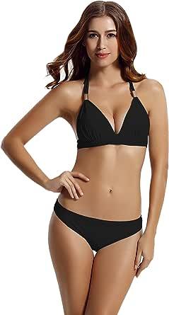 zeraca Women Hipster Bottom Halter Triangle Push up Bikini Bathing Suits