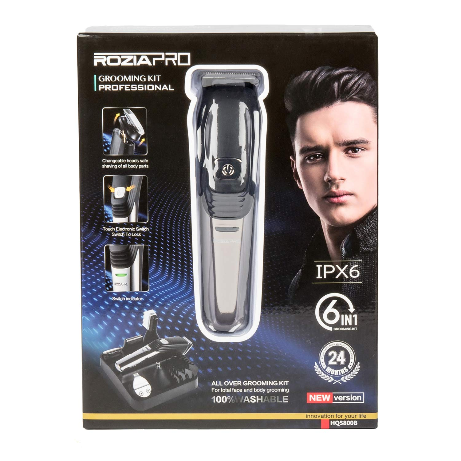Mens Beard Trimmer 6 In 1 Hair Clipper, Electric Trimmer Electric Razor Grooming Kit