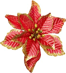 NOVELTY GIFTS1 Christmas Glitter Poinsettia Christmas Tree Ornaments Pack of 12 (Burgundy)