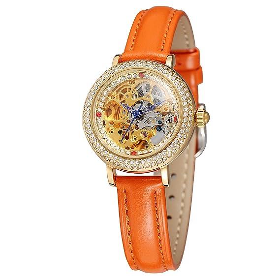 FORSINING - Reloj de pulsera para mujer, analógico, casual, con esfera de esqueleto: Amazon.es: Relojes