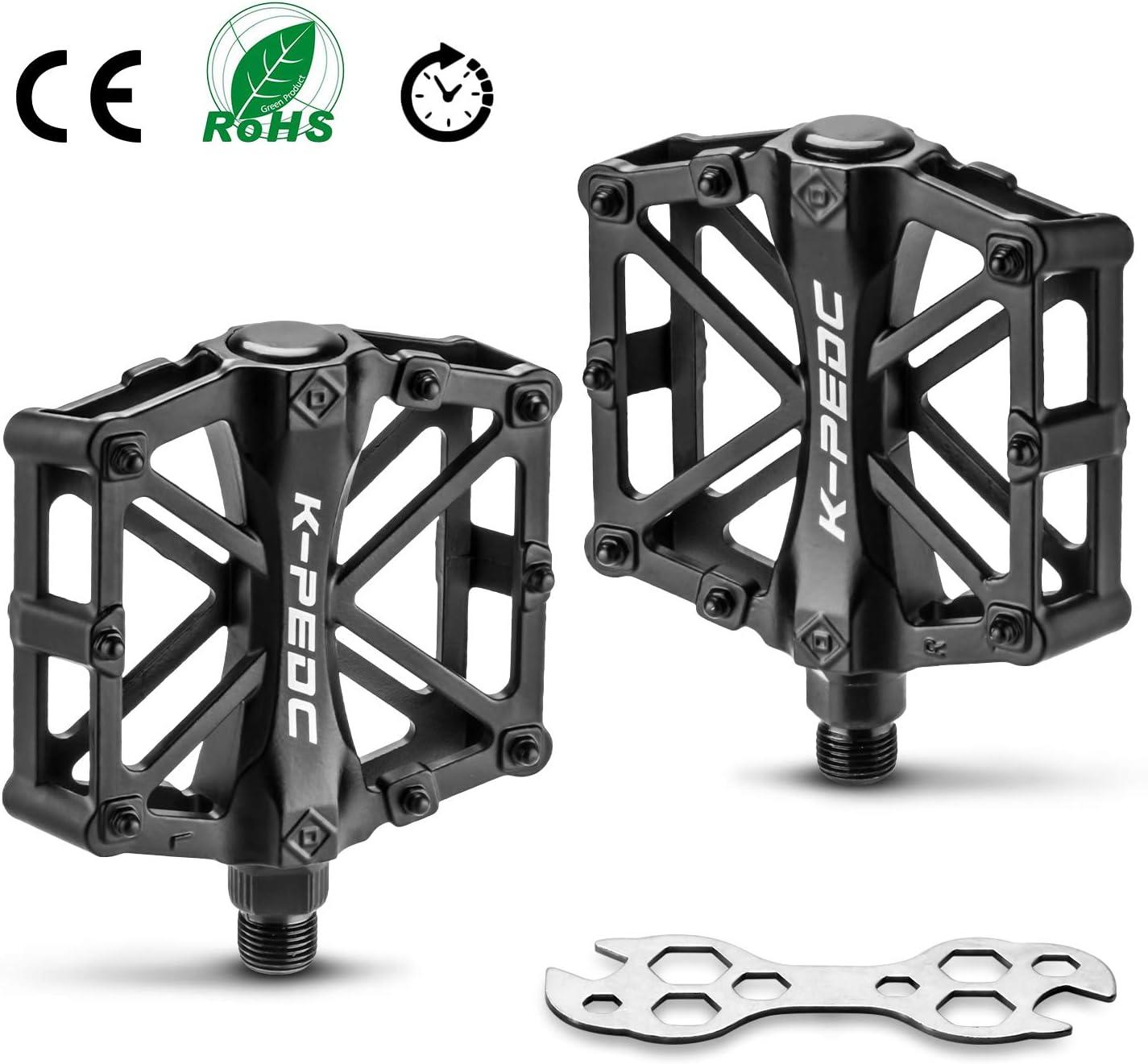 FORMIZON Pedales Bicicleta, Bicicleta de Montaña de Aleación de Aluminio Pedal 9/16 Pulgadas y Sealed los Cojinetes con Antideslizante Pedal, para Mountain Bike BMX Pedales para Montaña