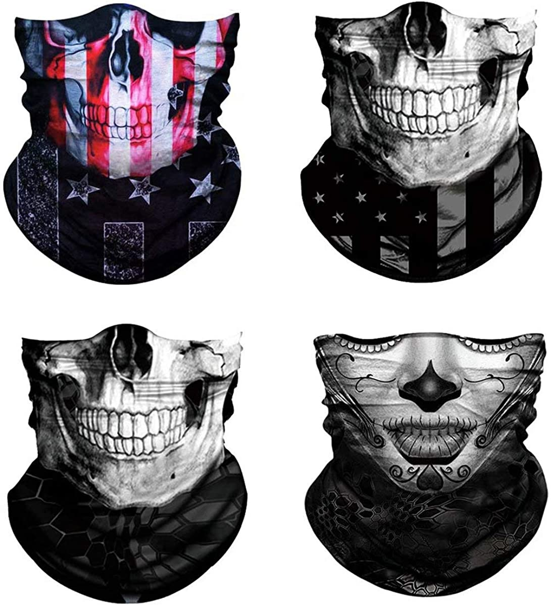 3D Skull Print Face Bandana Neck Gaiter, Reusable Washable Cloth Fabric Tube Scarf, Halloween Balaclava for Men Women