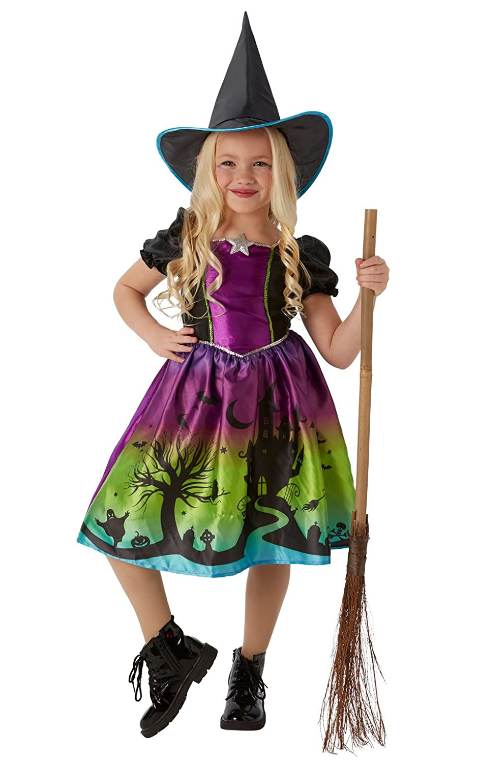 Tights Girls Halloween Fancy Dress Childrens Kids Costume Ombre Wicked Witch