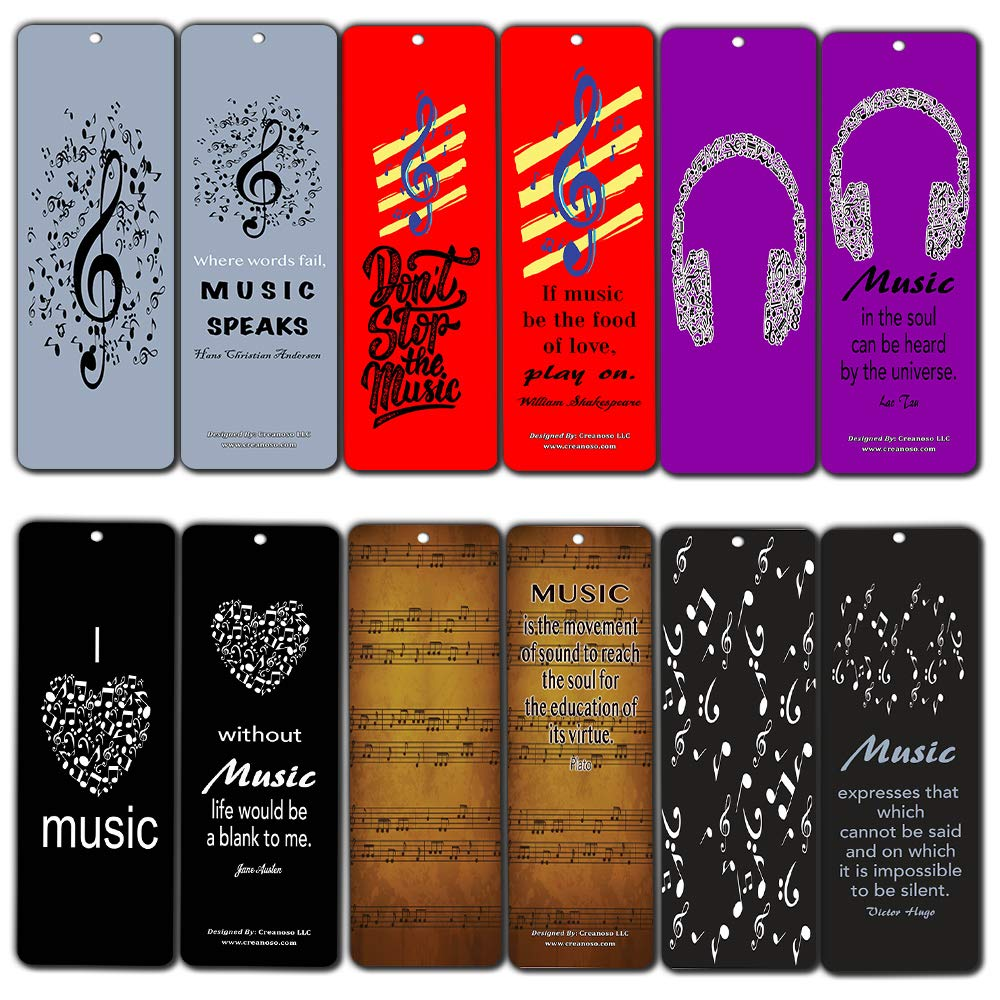 Creanoso Music Quotes Bookmarks Cards (60-Pack)- Inspirational Music Gifts for Men Women Adults Teens Kids Boys Girls Musicians Guitarists - Wall Decor