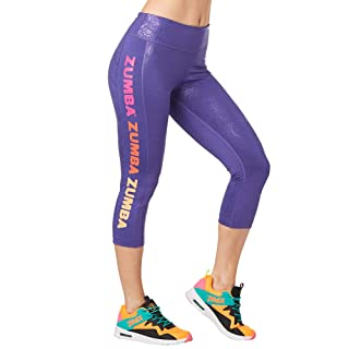 Zumba Dance Fitness Compression Pants Workout Print Capri Leggings for Women, Grape, Medium