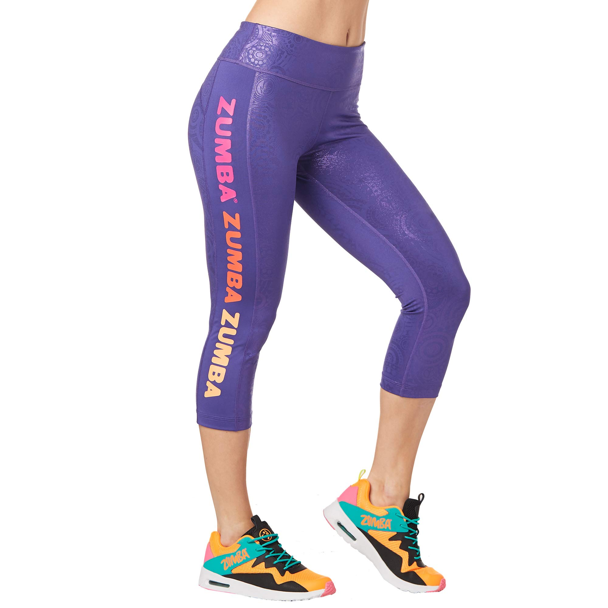Zumba Dance Fitness Compression Pants Workout Print Capri Leggings for Women