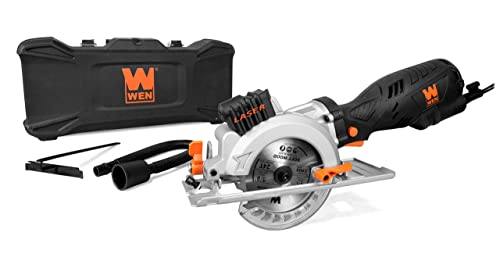 WEN 3625 5-Amp 4-1 2-Inch Beveling Compact Circular Saw with Laser and Carrying Case