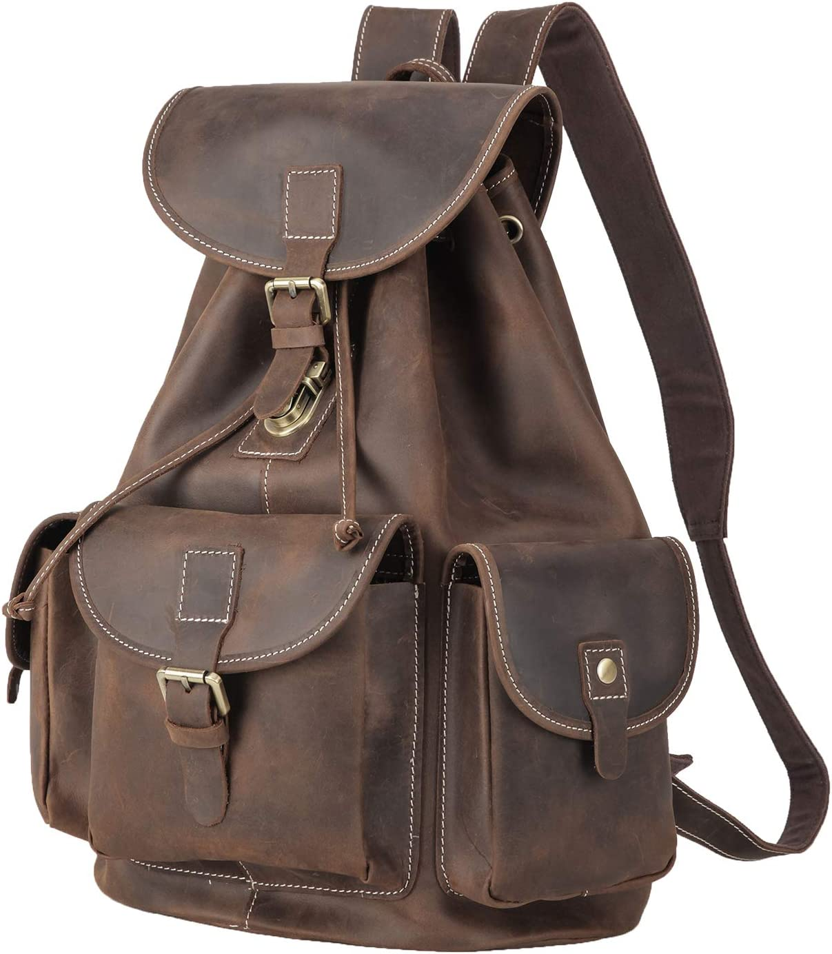 Polare Full Grain Leather Backpack Vintage College Laptop Bag with YKK Metal Zipper