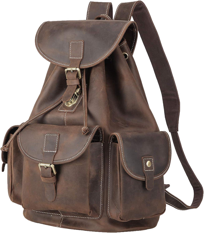 Polare Full Grain Leather Rucksack Backpack Vintage College Laptop Bag