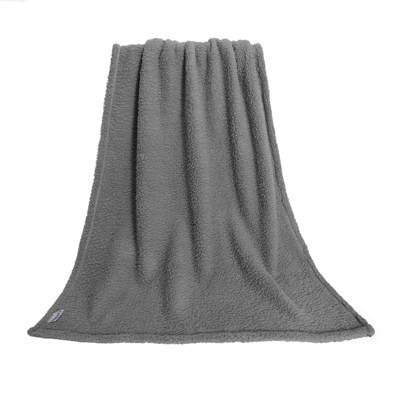 furrybaby Premium Fluffy Fleece Dog Blanket, Soft and Warm Pet Throw for Dogs & Cats (Large 41x65'', Grey)
