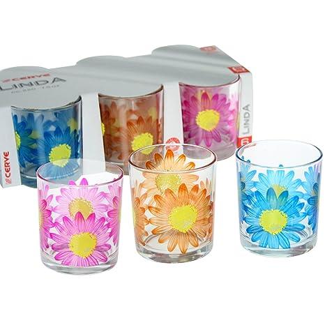 Donregaloweb Set De 6 Vasos De Cristal Decorados Con Flores