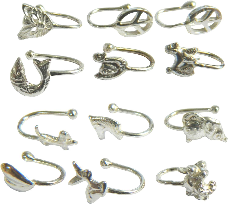Pendientes para la nariz piercings pinzas abiertos pack 12 diferentes motivos plata auténtica accesorio: Amazon.es: Hogar