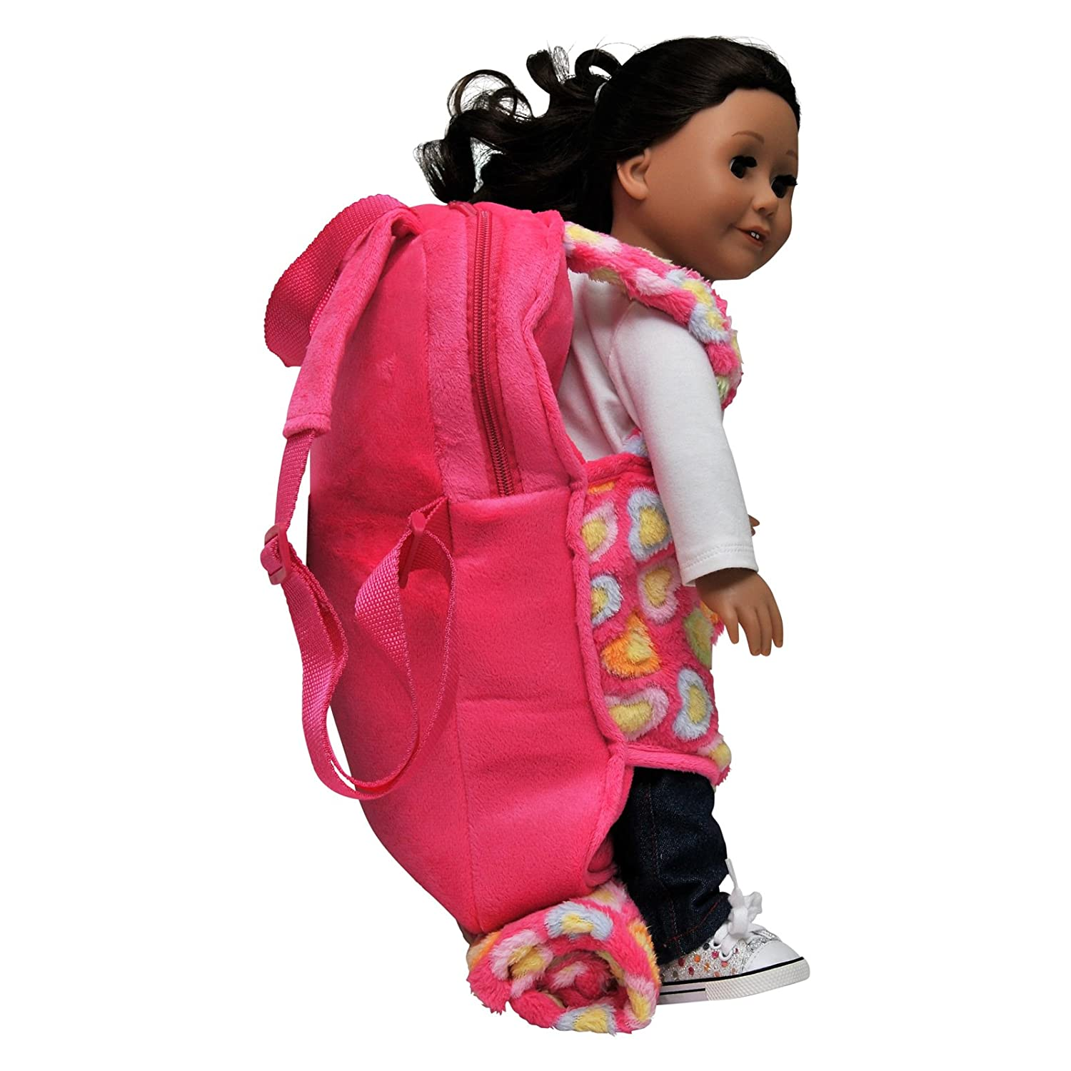 37cabd88c701 Amazon.com  The Queen s Treasures Pink aby Doll Backpack Carrier and Sleeping  Bag for 18 inch and 15 inch Dolls. Fits American Girl Dolls   Bitty Baby ...