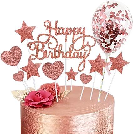 Rorchio 15pcs Happy Birthday Cake Topper Oro Rosa Decorazioni Torte Compleanno Topper Torta Stelle Cuori Con Mini Palloncino Per Decorare La Torta Di Compleanno Per Ragazze E Donne Amazon It Casa E