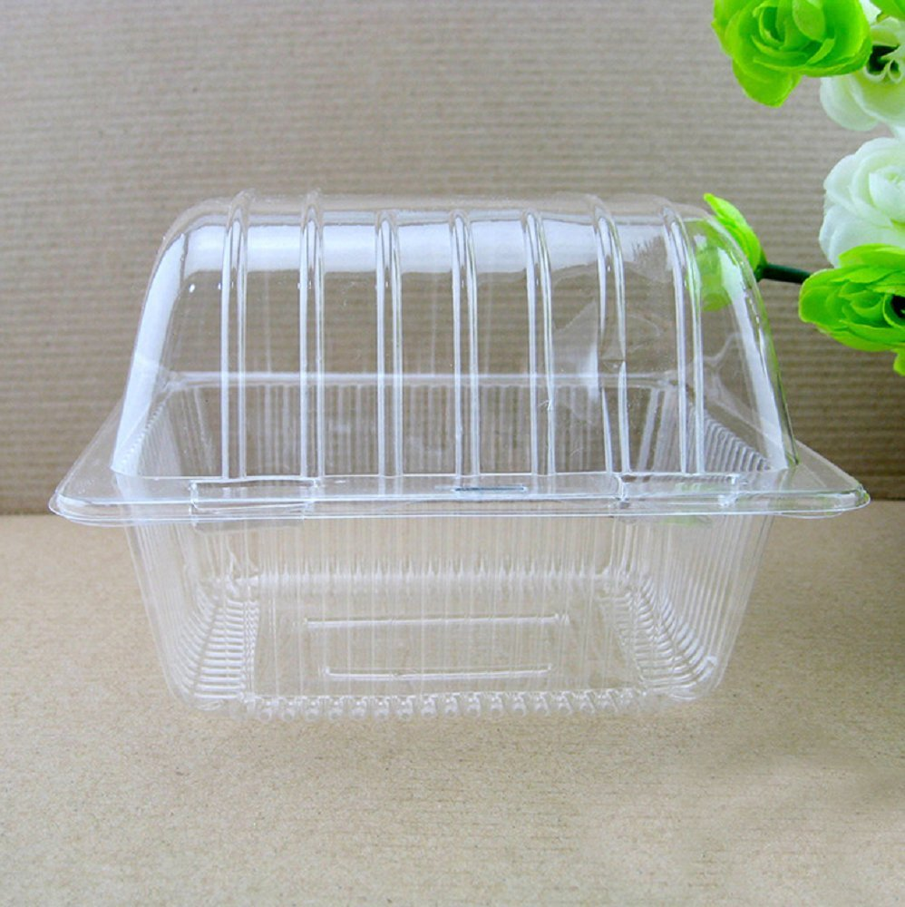 Hewnda 100 pieces of plastic single personal cake box Muffin box arched box (Arched)