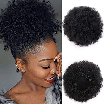 Aisi Queens Afro Puff Drawstring Ponytail Synthetic Short Afro Kinkys Curly Afro Bun Extension Hairpieces Updo Hair Extensions With Two Clips