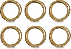 DII Decorative Napkin Ring Set for Family Dinners, Holidays, Weddings, Indoor/Outdoor Parties or Everyday Use, Set of 6, Intertwined Gold 6 Count