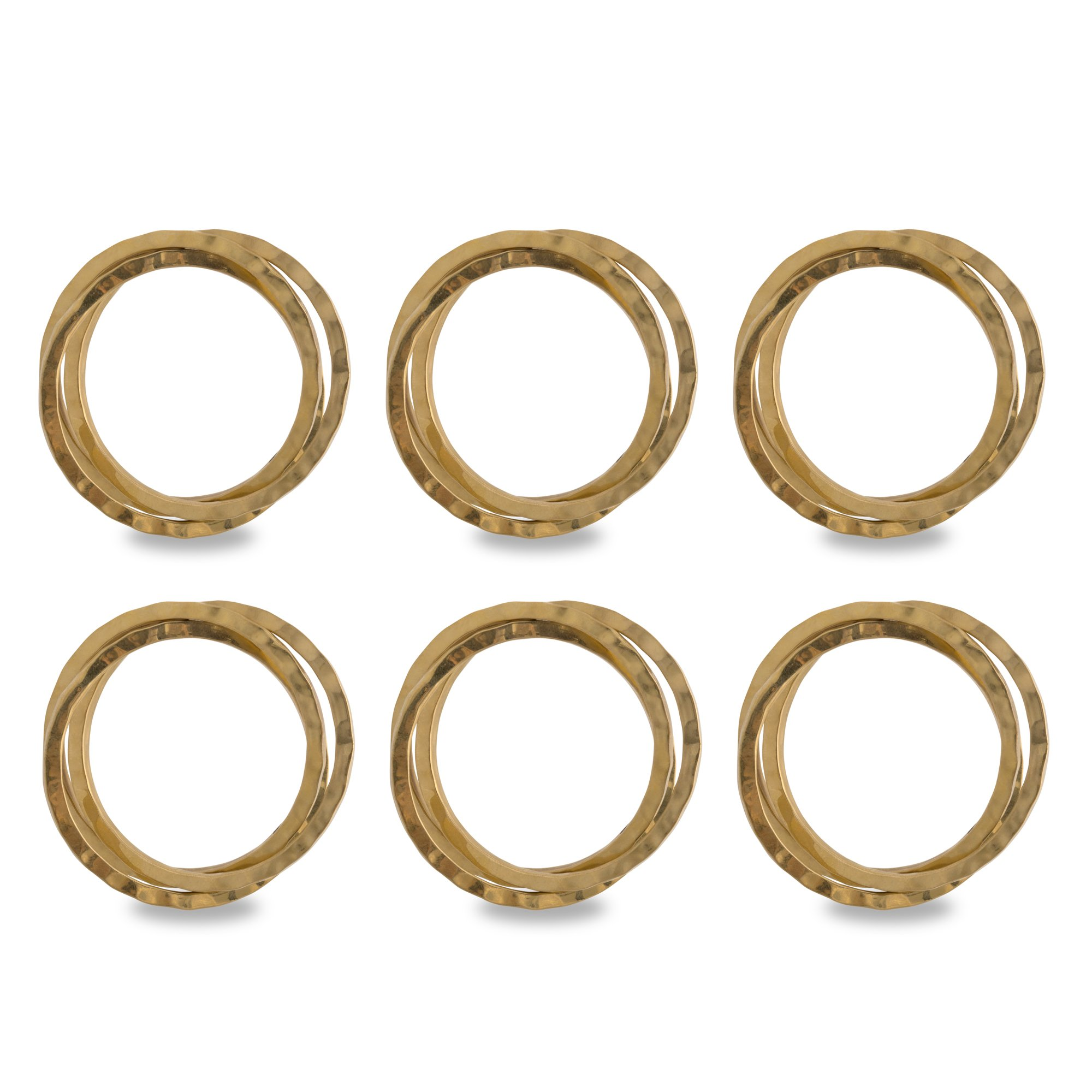 DII Napkin Rings for Family Dinners, Weddings, Outdoor Parties or Everyday Use - Gold Intertwined, Set of 6