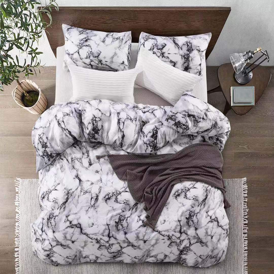 Carisder Marble Duvet Cover Set White Soft Lightweight Bedding Set Microfiber Twin Comforter Cover with Zipper Closure (Twin Modern Style)