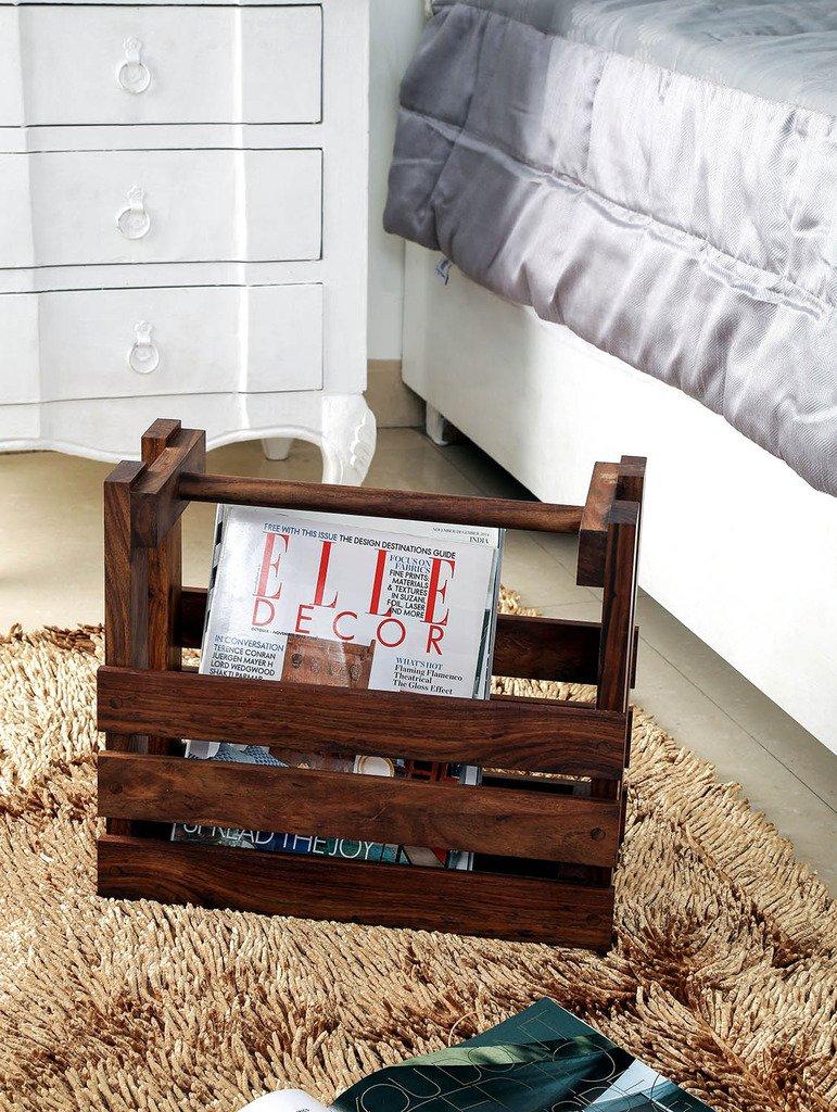 Unravel India Wooden Brown Magazine Rack
