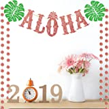 TMCCE Luau Party Supplies Rose Gold Aloha Sign Banner For Hawaiian Moana Party Decorations