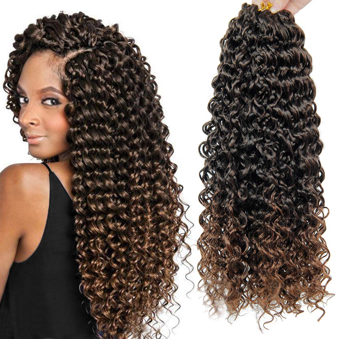 Amazon Com 18inch Bohemian Crochet Hair Braids Ombre Color Deep Wave Braiding Hair Extensions Freetress Synthetic Deep Twist Crochet Hair 5packs 1b 30 Beauty