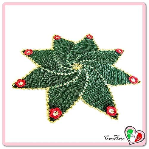 Grün Und Gold Häkeln Deckchen Für Weihnachten Aus Baumwolle Größe