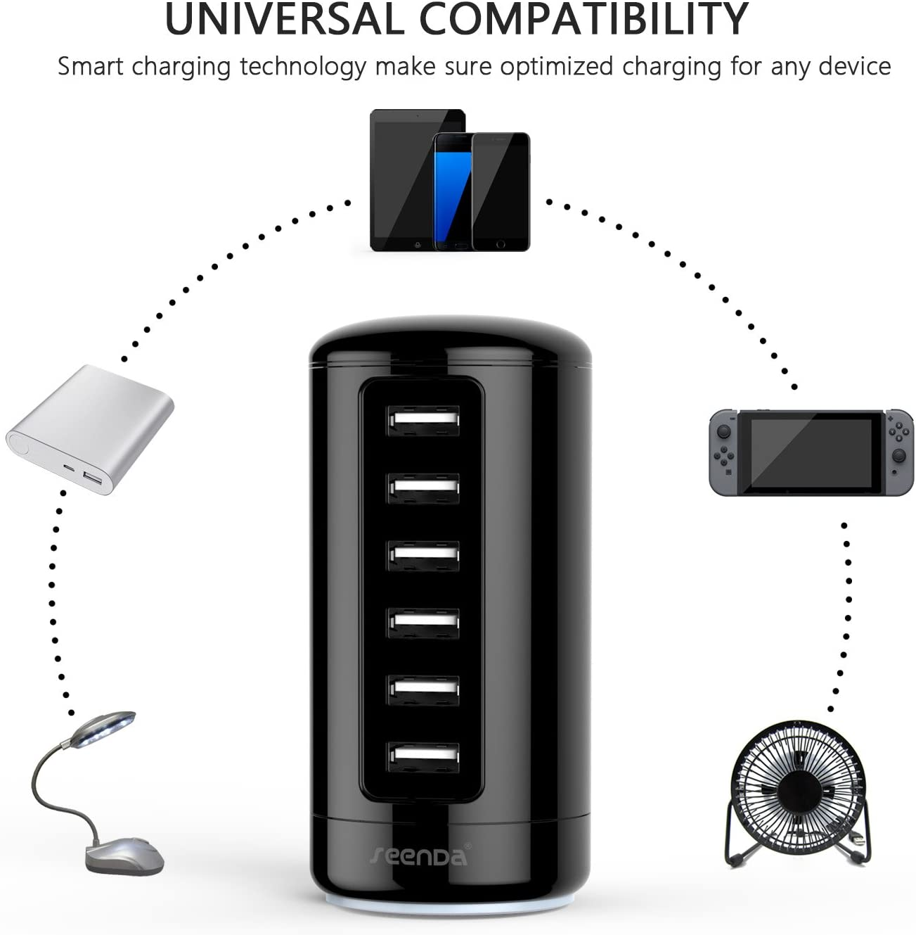 Multi Wall Charger Port 6-Port USB Charging Station with Smart Identification seenda USB Charger White /& Gold