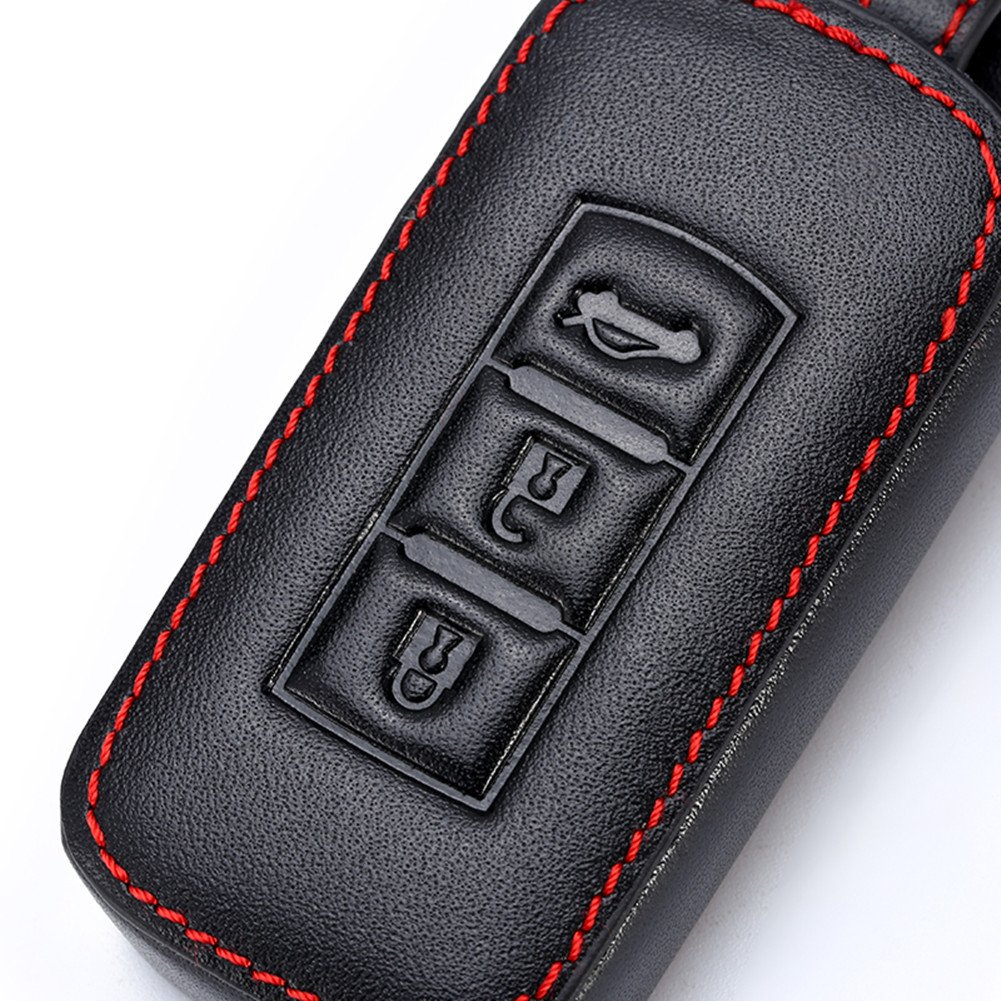 Happyit Cas de Couverture de Cl/é de Voiture en Cuir Porte-Cl/és de Coiture pour Mitsubishi Outlander Lancer 10 EX Pajero Sport ASX RVR L200 3 Boutons Cl/é Intelligente