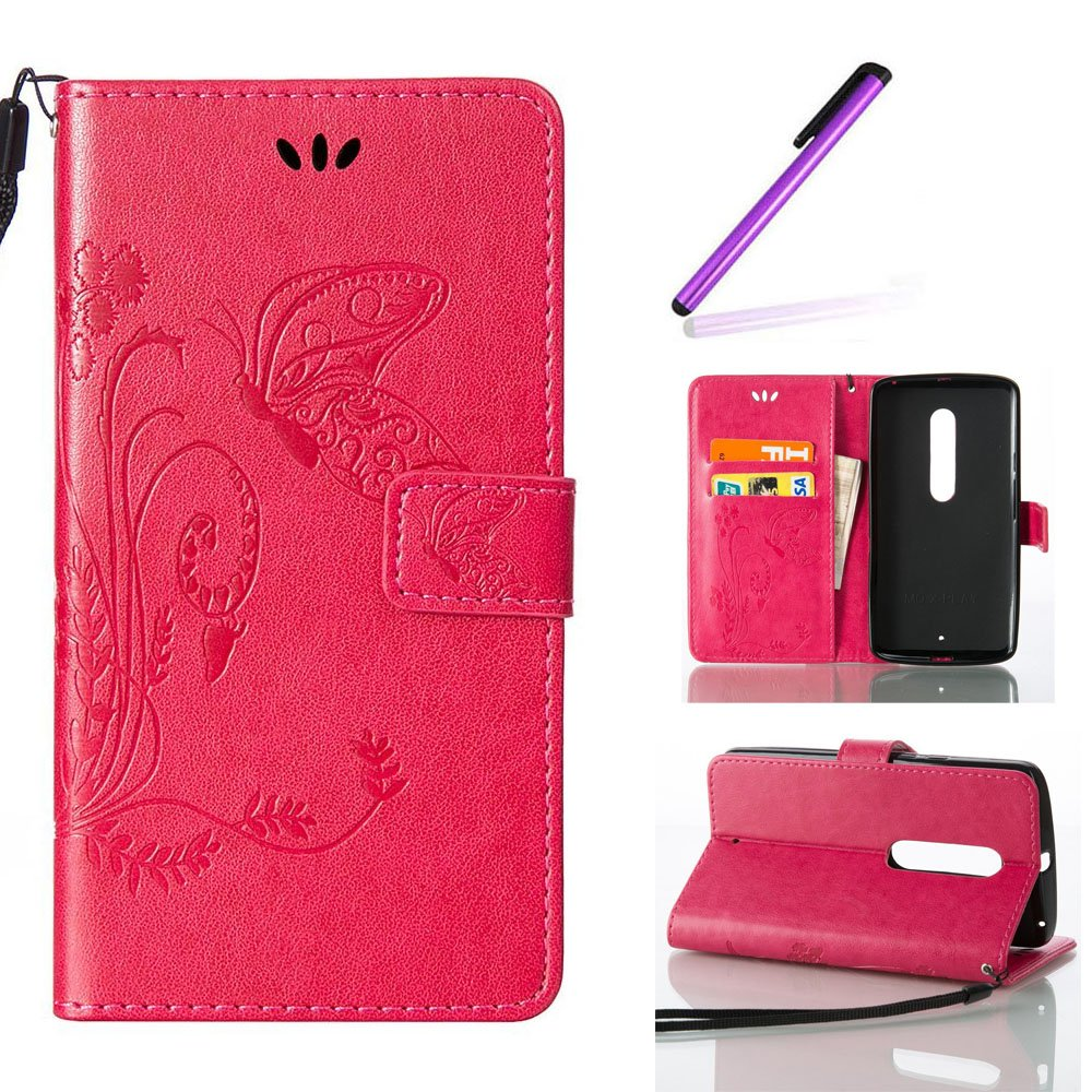 EMAXELERS Moto X Play Coque Gaufrage Feuilles Flip Wallet Case Portefeuille PU Housse Swag Case Cover Coquille Coque avec Fonction Stand pour Moto X Play, Diamond Red Leaf with Angel