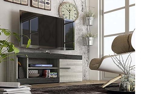 LIQUIDATODO ® - Mueble de tv moderno y barato 1 puerta y 3 huecos color coral y ebony