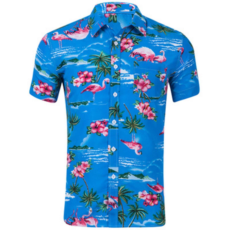 Mens Summer Beach Hawaiian Shirt Short Sleeve Casual Plus Size Floral Shirts Men Casual Holiday Vacation Clothing