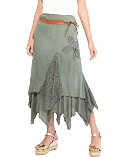 4b7cc9ef693a0e KRISP Femme Jupe Longue Plissée Maxi Boho: Amazon.fr: Vêtements et ...