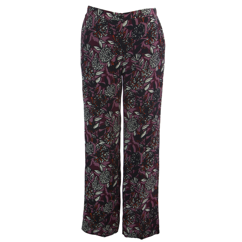 Marina Rinaldi Women's Ricco Floral Silk Pants 20W / 29 Bordeaux
