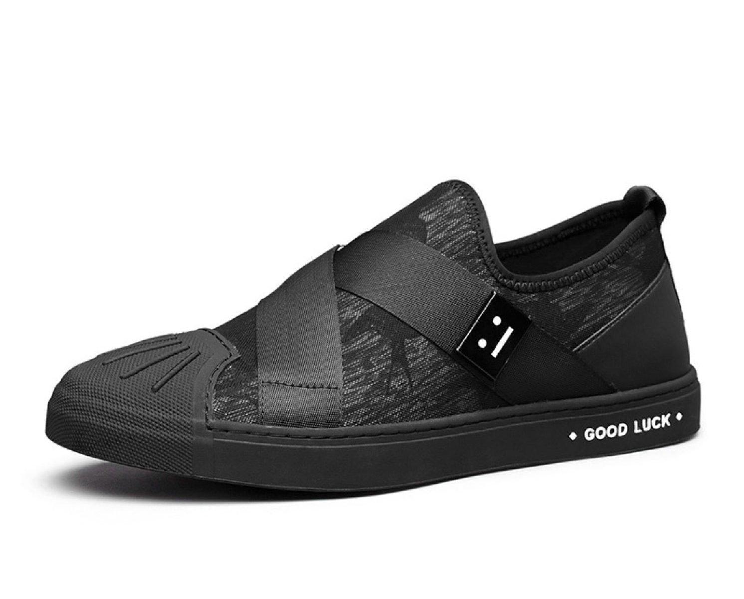 MUYII Zapatos De Lona Ocasionales De La Moda Clásica De Los Hombres Para Los Hombres Zapatos De Deslizamiento Antideslizantes De La Moda Del Cuero Llano Del Dedo Del Pie,Black-EU43 EU43|Black
