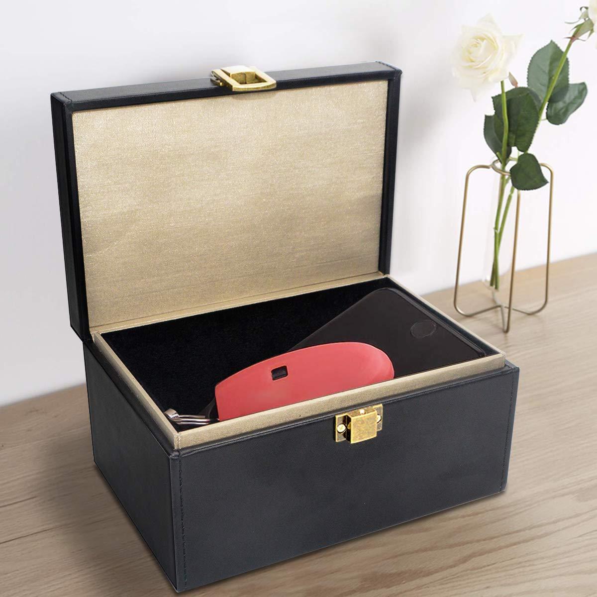 telefoni e carte Qcore grande scatola blocca il segnale borsa senza chiave RFID per chiavi scatola Faraday per chiavi dell/'auto antifurto in pelle Faraday