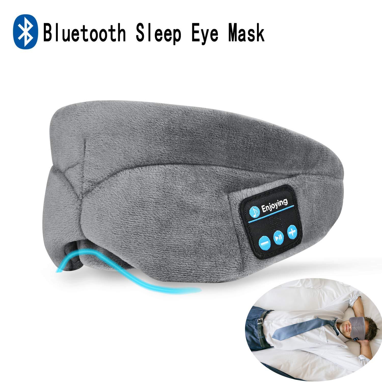 Bluetooth Sleeping Eye Mask Headphones, CUTEFA Grey Sleep Mask Adjustable&Washable Music Headset Eye Cover with Microphone - Comfortable for Travel/Sleeping/Shift Work/Meditation for Women, Men, Kids
