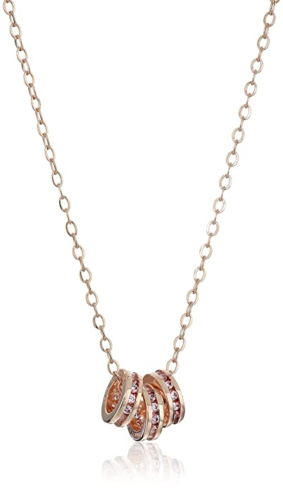 17318f30f Amazon.com: Rose Gold Plated Sterling Silver Round Pink Cubic Zirconia Triple  Rings Pendant Necklace, 18