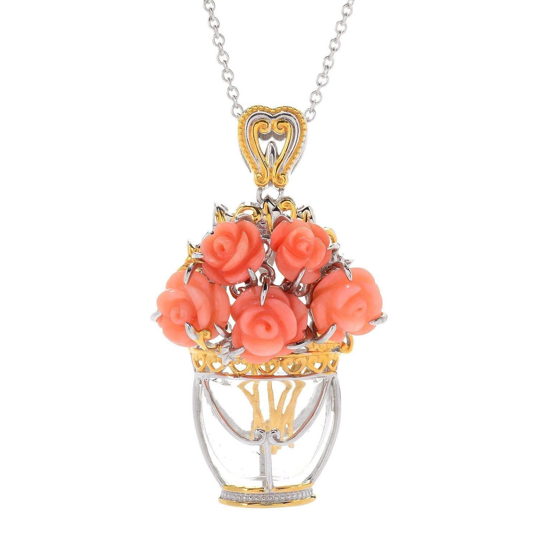 Michael Valitutti Palladium Silver Carved Pink Coral Flower & Glass Vase Bouquet Pendant