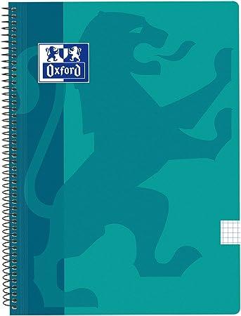 Oxford Classic - Cuaderno espiral, tapa plástico, cuadrícula 4x4, color aqua: Amazon.es: Oficina y papelería