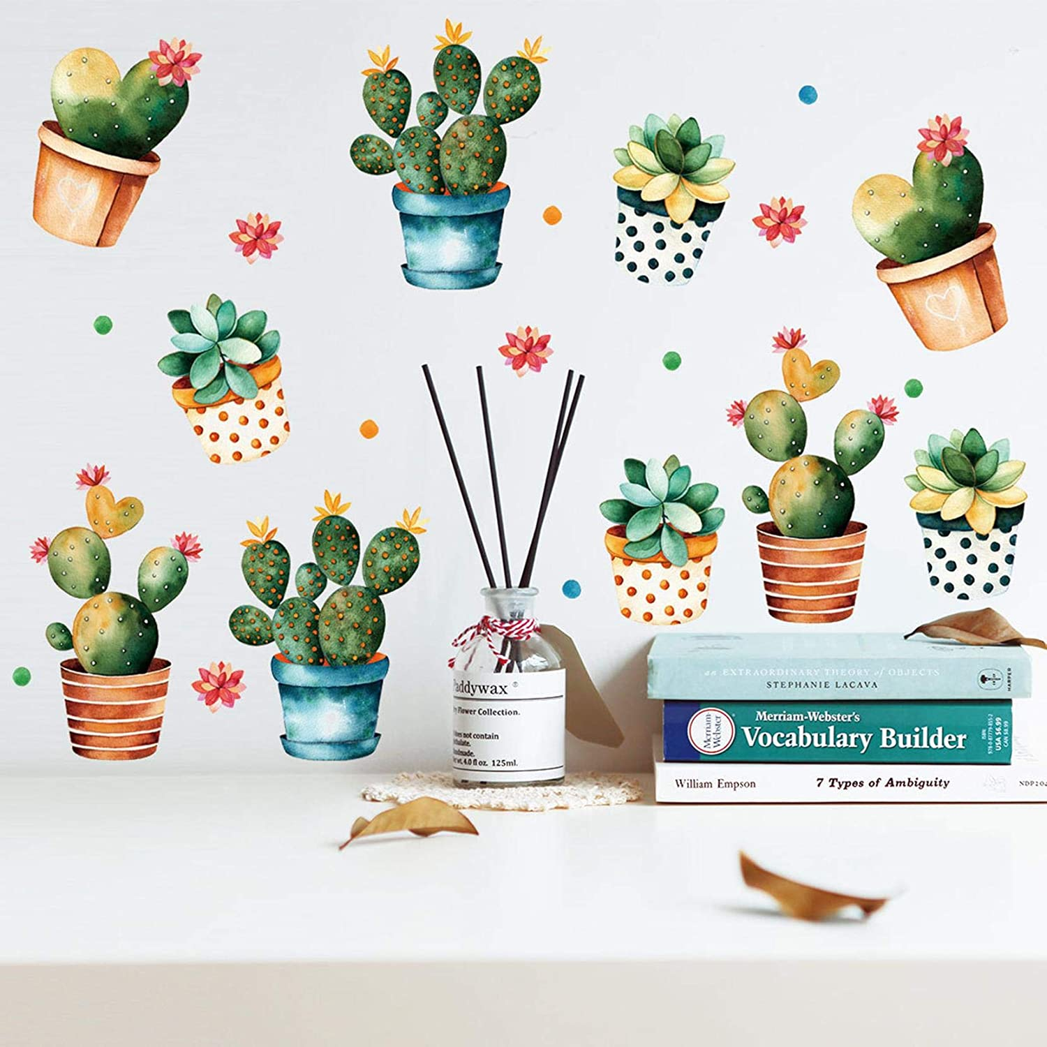 MOLANCIA 16 Pcs Cactus Succulent Wall Decal, Green Potted Plants Wall Stickers,Tropical Bonsai Wall Art Mural, Nature Vinyl Sticker,Removable Waterproof Wall Decor for Kids Bedroom Kitchen Living Room