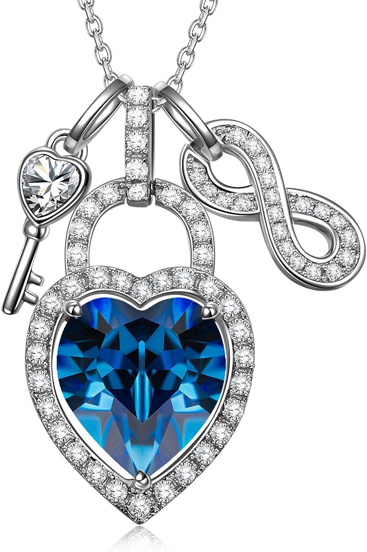 Alex Perry Regalo para Ella, Abre tu Corazon 925 Plata Collar Mujeres Colgantes Cristales Swarovski Bloquear Azul, Caja de Regalo Elegante, Joyería para Ella