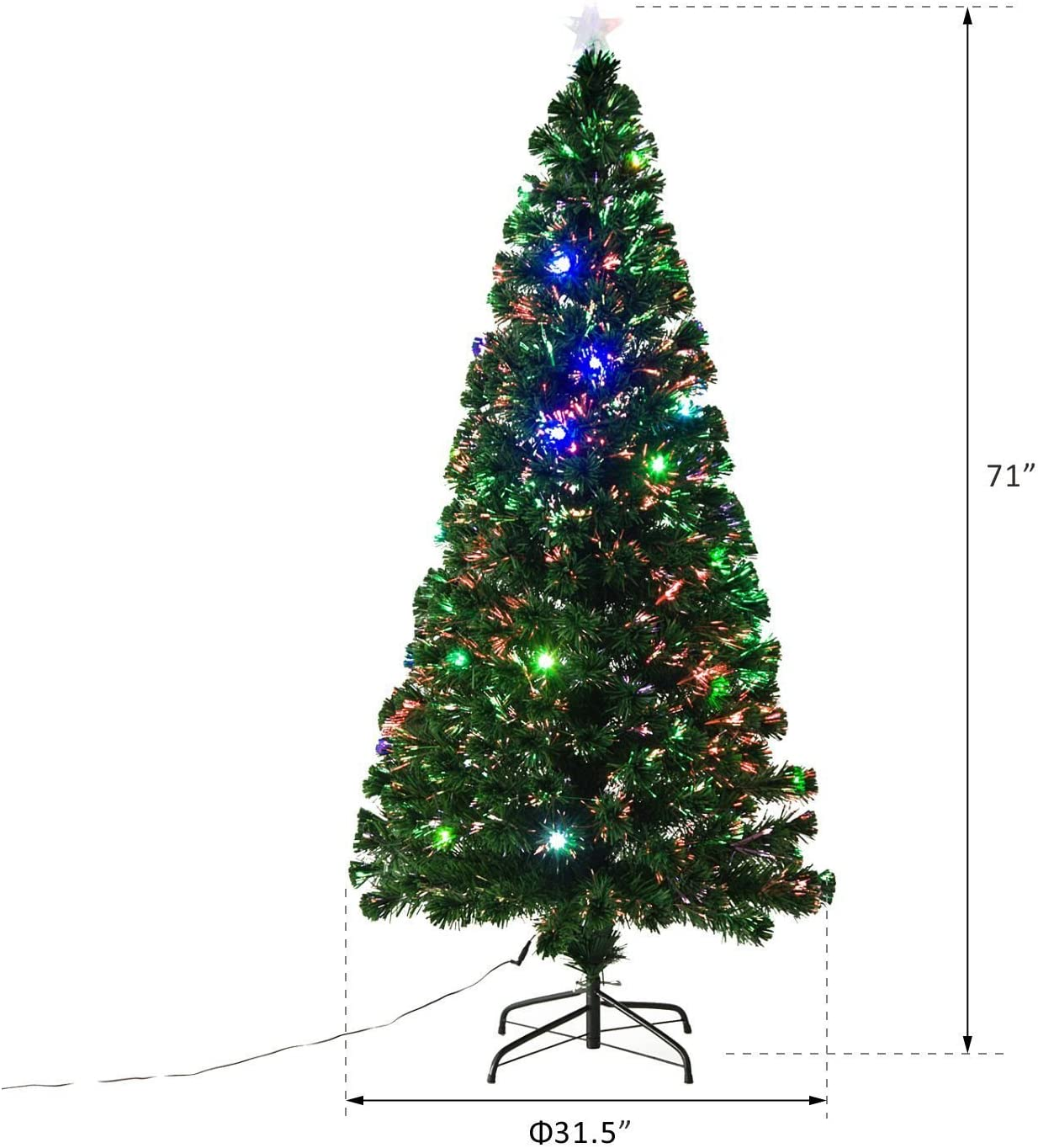 6 Tall 24 Pre-Programmed Fiber Optic LED Lights HOMCOM Pre-Lit Noble Fir Artificial Christmas Tree with 230 Tips