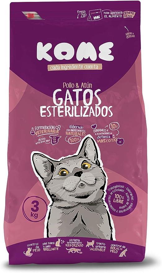 KOME Pienso Natural para Gatos esterilizados con Pollo y Atún ...