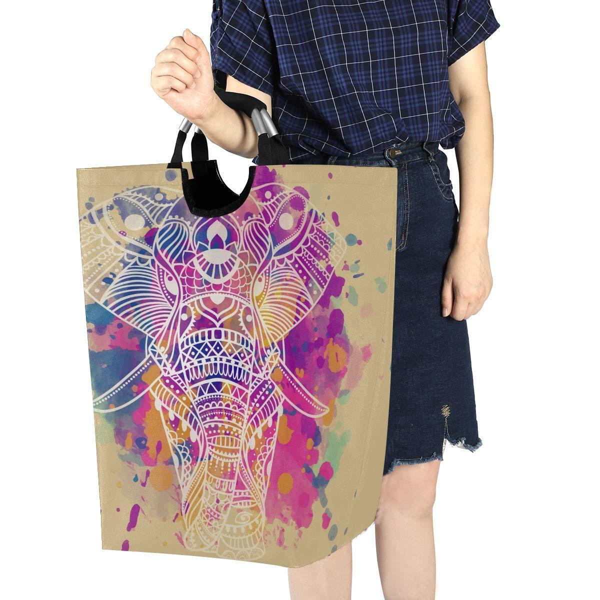 Unimagic Collapsible Laundry Basket Vintage Bohemian Elephant Laundry Hamper Large Cloth Hamper Laundry Organizer Holder with Handle