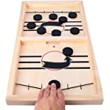 HELLO PAPAYA Fast Sling Puck Game,Wooden Hockey Game Sling Puck.Desktop Battle Wooden Hockey Table Game,Adults and KidsFunny