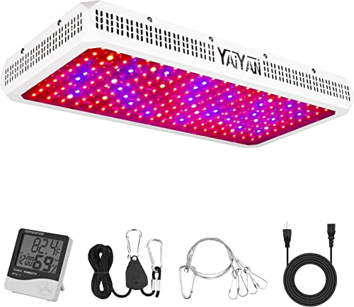 YAIYAN 2000W LED Grow Light Full Spectrum Double Switch for Indoor Plants with Daisy Chain Function, Grow Lamp for Hydroponics Greenhouse and Grow Tent Double-chip 10W LED Actual Power 380 Watt