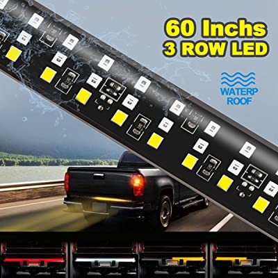 "60"" Triple LED Tailgate Light Bar, Triple Row Pickup Light w/Sequential RED Turn Signal, LED Solid Beam - Weatherproof No Drill Install - Full Function Reverse Brake Running: Automotive"